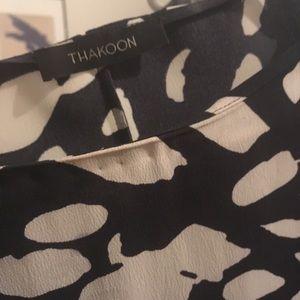 Thakoon silk leopard-like dotted dropwaist dress